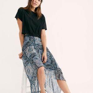 NWOT Free People Diamond Pleated Maxi Skirt XS